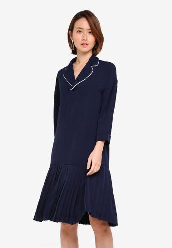 KLEEaisons navy Low Waist Pleated Pajama Dress C6213AA00C88F9GS_1
