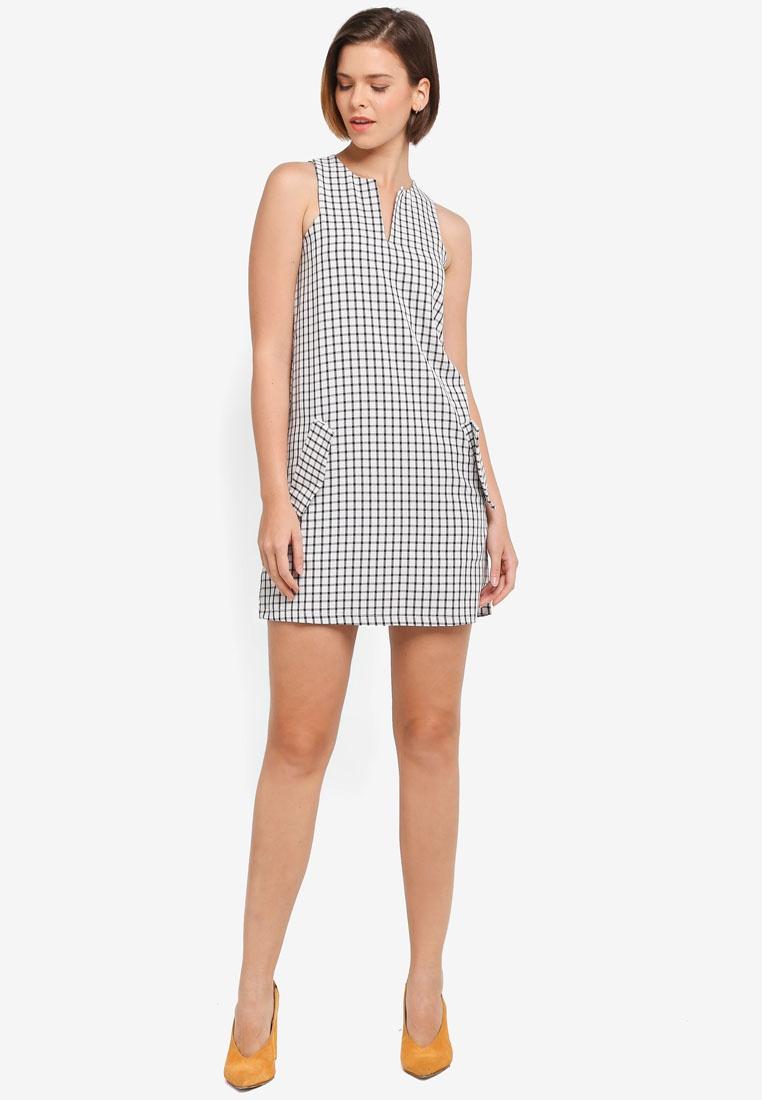Dress ZALORA White Keyhole Black Neckline Check Shift 0qWFZ4g