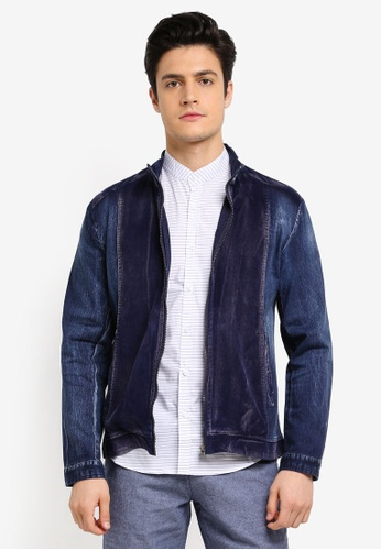 Fidelio blue Contrasted Cotdry Washed Denim Jacket 317ABAABA2D8A4GS_1