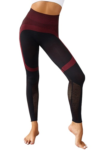 LYCKA red BYG7002 Lady Fitness Yoga Sports Color Matching Seamless Leggings -Red D480EAA161290AGS_1
