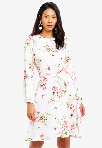c43a6a35cab Dorothy Perkins white Floral Belt Long Sleeve Skater Dress  A174CAA503BBD9GS_1