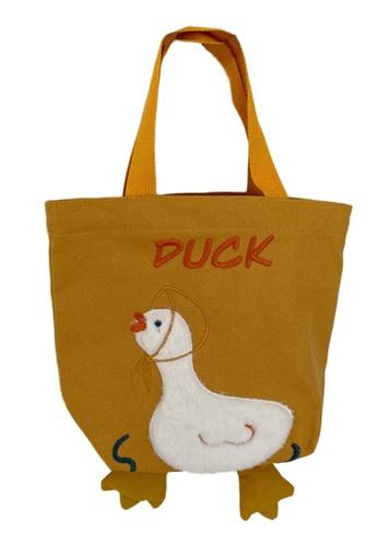 Sunnydaysweety yellow Embroidered Duckling Canvas Handbag A092504YE 30BEEACAB66400GS_1