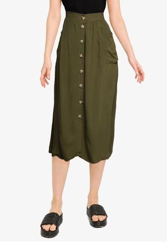 LC Waikiki green Below Knee Solid Skirt BE32BAA3F5CA1BGS_1