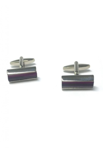 Splice Cufflinks purple and silver Purple Line Rectangular Cufflinks   SP744AC05DNUSG_1