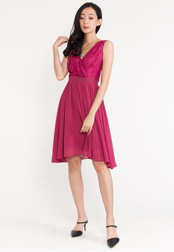 BEBEBEIGE red BebeBeige V Neckline Sleeveless Regular Fit Evening Short Dinner Dress 8357FAAD4D980DGS_1