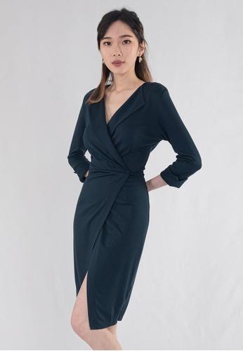 BEBEBEIGE blue BebeBeige V-Neckline Slim Fit Midi Elegant Dinner Dress 05D64AAE2BA693GS_1