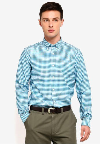 Brooks Brothers blue Red Fleece Gingham Cotton With Logo Oxford Sport Shirt A16CEAA8F516F2GS_1