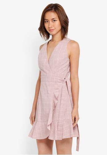 ZALORA pink Wrap Dress with Bottom Frill 4993CAA0CA593AGS_1
