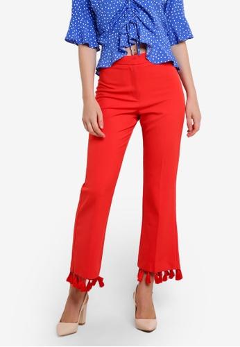 TOPSHOP red Tassel Hem Flare Trousers TO412AA0RFTLMY_1