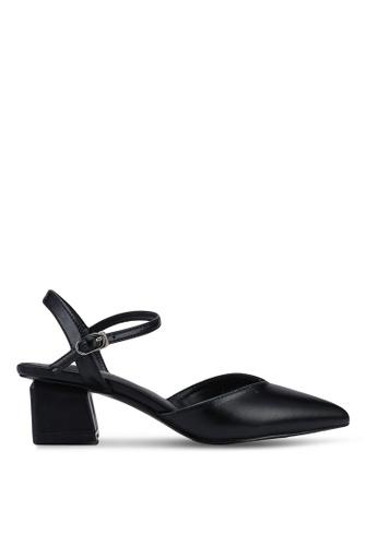 Kimmijim 黑色 Kristi Pointed Toe Ankle Strap Block Heels 9C30ESH12D3550GS_1