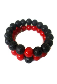 c180a77b93e93 Be Lucky Charms black and red Feng Shui Couple Relationship Bracelets His  and Her Lava Stone