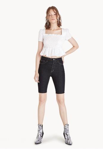 Pomelo black Capri Raw Hemline Denim Pants 822D8AABA002EFGS_1