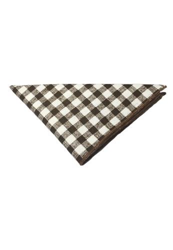 Splice Cufflinks brown Patchwork Series Dark Brown Plaids Design Cotton Pocket Square   SP744AC97DKGSG_1