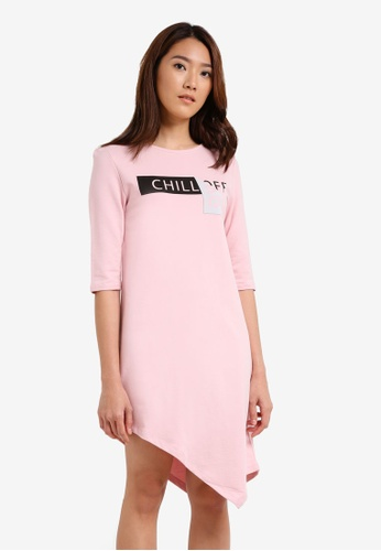 Something Borrowed pink 3/4 Sleeve Asymmetric Dress 7E6E8ZZ879D41CGS_1