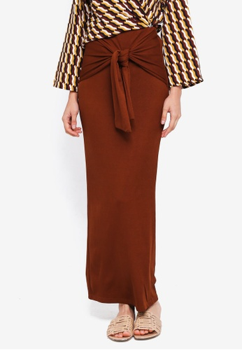 Lubna brown Rib Knit Tied Knot Skirt 0F452AA122CDC4GS_1