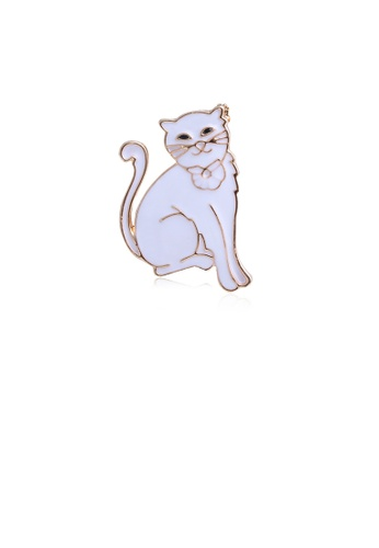 Glamorousky silver Simple and Cute Plated Gold White Cat Brooch 12E81AC6A21B44GS_1