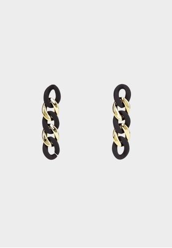 Pomelo black Link Chain Drop Earrings - Black 4B724AC10F4E6FGS_1
