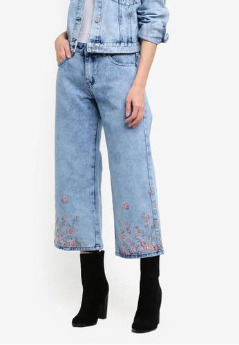 Something Borrowed blue Embroidery Mid Rise Denim Culottes 29B45ZZAF72E4FGS_1