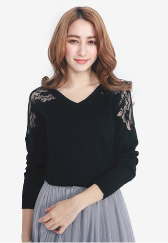 YOCO black Lace Shoulder Knit Sweater 9C7CFAA653A085GS_1