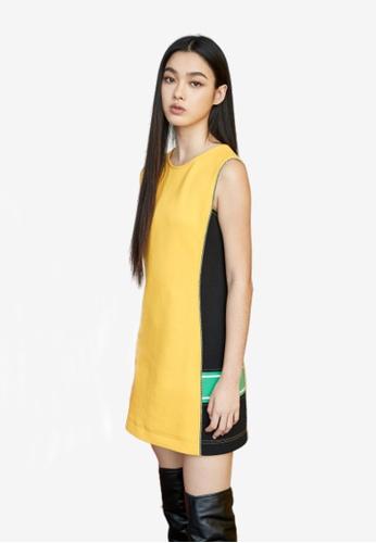 iROO yellow Colour Block Dress B0E59AA414A942GS_1