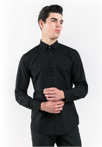 MANLY black Manly Rastrelli Black Slim Fit Long Sleeve Plain Shirt 08537AAFF466E2GS_1