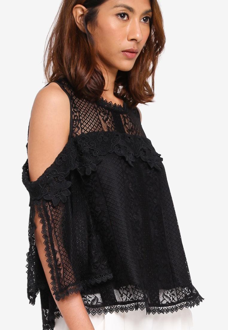 600fc360e5895 Shoulder Cold Black Blouse Lace KLEEaisons 05vOqn-klausecares.com
