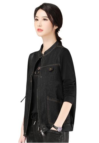 A-IN GIRLS black Black Stand-Collar Denim Vest Jacket CF427AA8420040GS_1