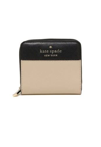 Kate Spade black and multi and beige Kate Spade Staci Colorblock Small Zip Around Wallet wlr00636 Warm Beige Multi 34314AC8DE111CGS_1