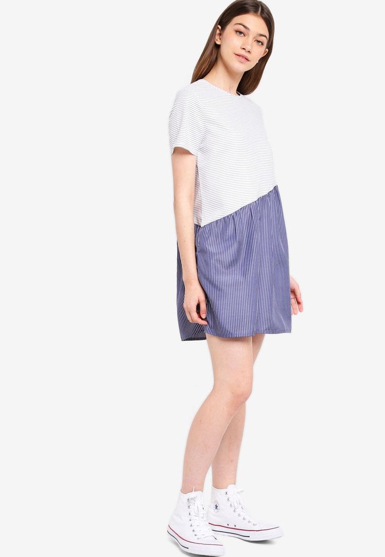 Babydoll Asymmetric White Black Dress Stripes Something Borrowed SwqdBFPw