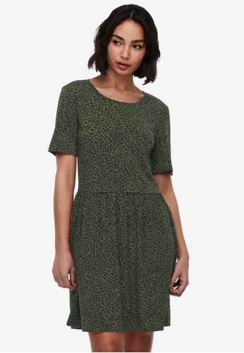 JACQUELINE DE YONG green Kirkby Printed Dress 46927AA17E690EGS_1