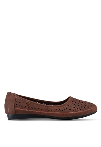 Louis Cuppers brown Perforated Ballerina Flats AB674SHC41B290GS_1