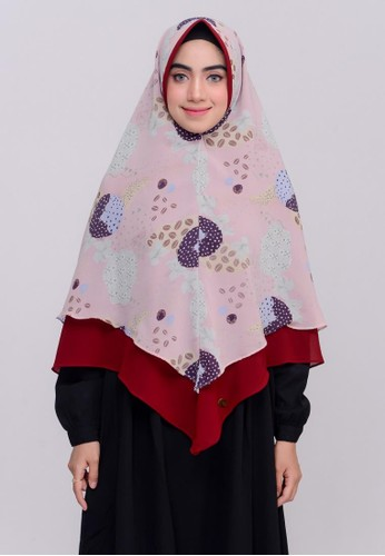 First Hijab pink Nerissa Khimar Instan In Pink 235A4AAD6E47CBGS_1