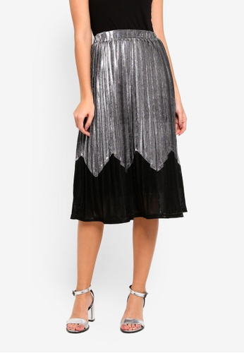 bYSI silver 2-Tone Metallic Pleated Skirt 7C47BAAC84AC4CGS_1