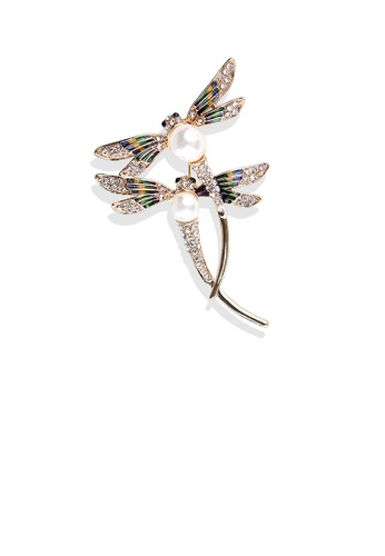 Glamorousky white Fashion and Elegant Plated Gold Double Dragonfly Imitation Pearl Brooch with Cubic Zirconia 2302EAC5C8472AGS_1