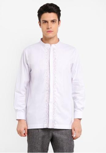 Zalia Homme 白色 Embroidered Mandarin Collar Top E944DAA2916F26GS_1