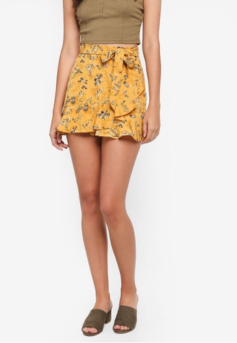 TOPSHOP yellow Petite Ruffle Tie Skirt FF531AAA7672D8GS_1