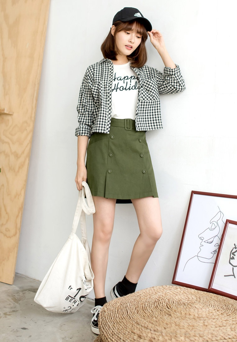 Skirt Detailed Green Tokichoi Button Belted 0qFwx71Y