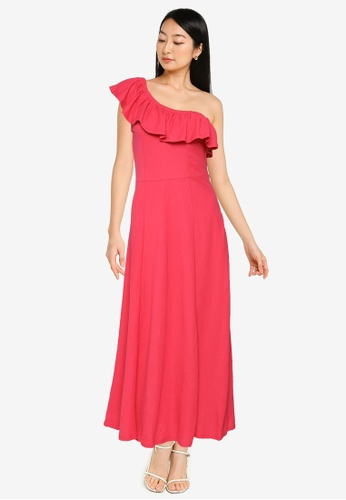Springfield red Asymmetric Neckline Midi Dress C3EDCAA0933CC1GS_1