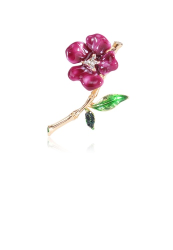 Glamorousky white Fashion and Elegant Plated Gold Purple Flower Brooch with Cubic Zirconia 76EA1ACD75A4CBGS_1