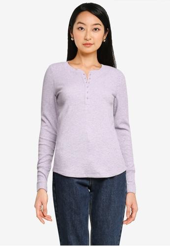 GAP purple Long Sleeves Rib Henley Tee 6A32EAAE50D27CGS_1
