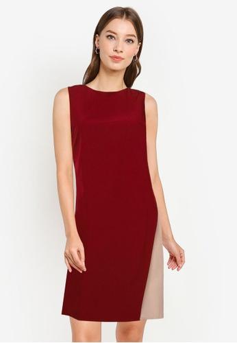 ZALORA WORK red Asymmetrical Colourblock Dress 2A266AA33CB925GS_1