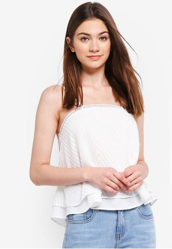 Something Borrowed white Textured Tiered Camisole Top 28981AAEEC6648GS_1