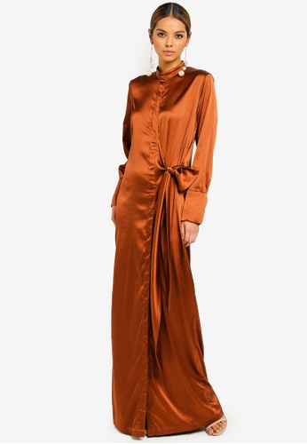 Ezzati Amira brown Asymmetrical Shirt Dress 5EF1CAA7733341GS_1