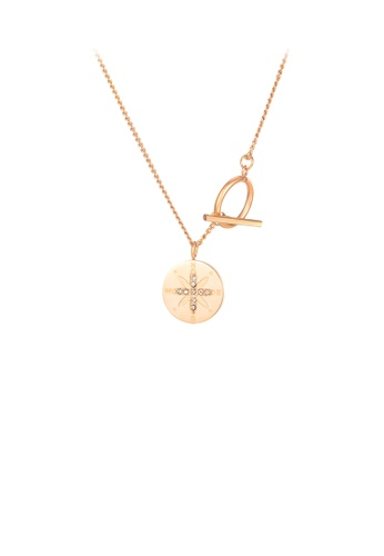 Glamorousky silver Simple Temperament Plated Rose Gold Geometric Disc 316L Stainless Steel Pendant with Necklace 4F3B2ACC228C30GS_1