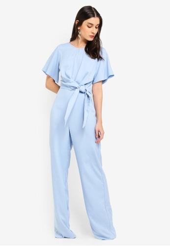 MISSGUIDED blue Blue Side Tie Jumpsuit A2798AA6E150B0GS_1