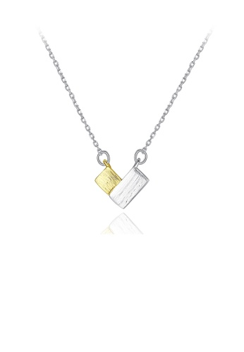 Glamorousky silver 925 Sterling Silver Simple Sweet Two-Color Heart Pendant with Necklace B0420AC9E21C93GS_1