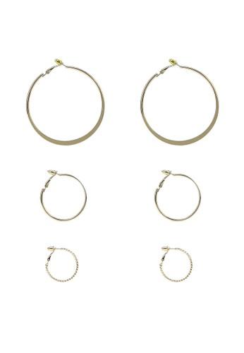 Red's Revenge gold 3-in-1 Say Oh Hoops Earrings Set Z 575 21E3EACEEC6099GS_1