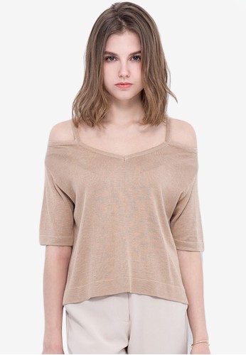 Kodz beige Cold Shoulder Knit Top 80456AAC8C7509GS_1