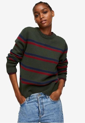 Mango green Striped Knit Sweater 4E613AAEE5093CGS_1