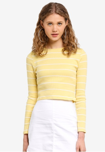 Supre yellow Long Sleeve Fitted Rib Top F1FF1AA122FEB9GS_1